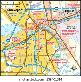 Shreveport, Louisiana area map