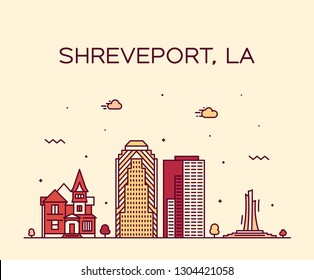 Shreveport skyline, Louisiana, USA. Trendy vector illustration, linear style