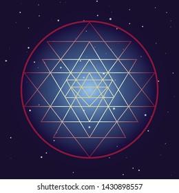 Shri Yantra chakra symbol, cosmic mystical diagram with stars on dark background. Sacred geometry illustration.