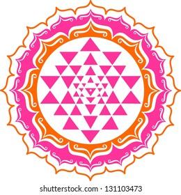 Shri Yantra - Lotus Flowers