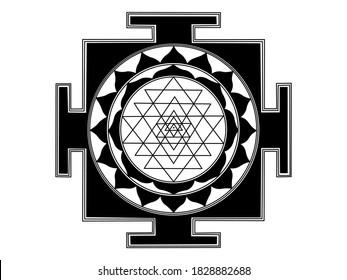 Shri Yantra vector illustration in black