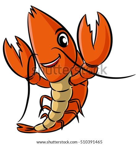 shrimp cartoon character logo graphics design stock vector royalty rh shutterstock com Pie Clip Art Fish and Chips Clip Art