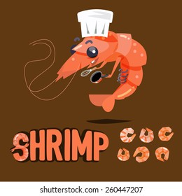 shrimp chef character design with boil and dried shrimp ready to cook - vector illustration