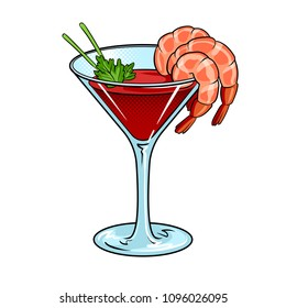 Shrimp cocktail with glass pop art retro vector illustration. Isolated image on white background. Comic book style imitation.