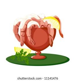shrimp cocktail vector stock vector royalty free 11141476 rh shutterstock com Sausage Patty Clip Art Cheese Clip Art