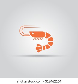 Shrimp isolated vector icon, seafood icon