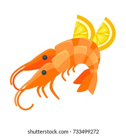 Shrimp with lemon illustration in cartoon style.