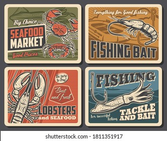 Shrimp, lobster and cuttlefish seafood vector retro posters. Fishing, fisherman equipment tackles, fish hooks and bait. Sport competition outdoor activity, restaurant production, underwater animals