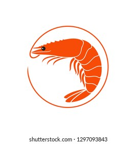 Shrimp logo. Isolated shrimp on white background. Prawns
