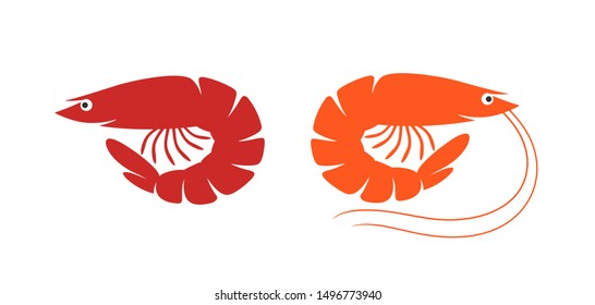 Shrimp logo. Isolated shrimp on white background. Prawns. EPS 10. Vector illustration