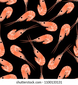 Shrimp seamless pattern. Flat Gradient Sea Food Concept