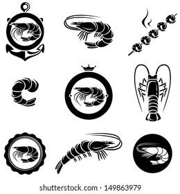 Shrimp set. Vector