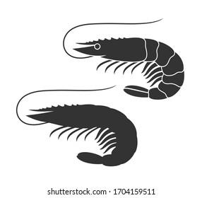 Shrimp silhouette. Isolated shrimp on white background
