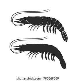 Shrimp silhouette. Isolated shrimp on white background. Prawns. EPS 10. Vector illustration