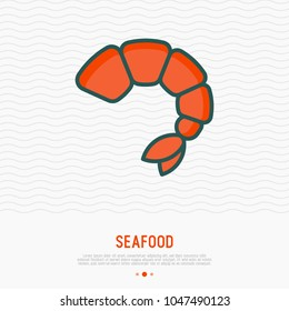 Shrimp thin line icon. Modern vector illustration of seafood for restaurant menu.