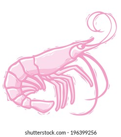 Shrimp  in  woodcut style