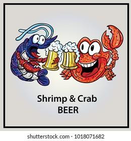 shrimp&crab illustration eps 10