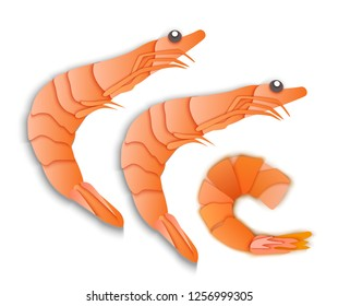 shrimps, the menu is a delicacy, cooked seafood, paper surround style