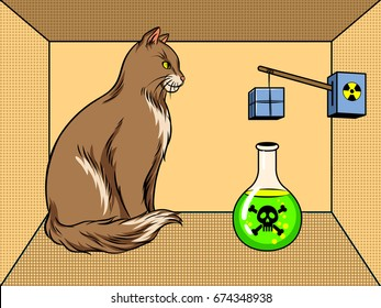 Shroedinger cat in box with poison pop art retro vector illustration. Visualization of the experiment. Interpretation of quantum mechanics. Scientific physical theory. Comic book style imitation.