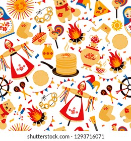 Shrovetide or Maslenitsa. Russian inscription Maslenitsa wide Wide Maslenitsa seamless pattern. Great Russian holiday Shrovetide. Vector illustration.