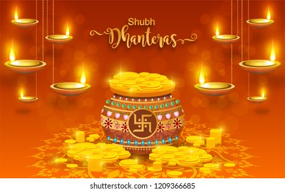 Shubh Dhanteras festival card with gold diya patterned and crystals on paper color Background.