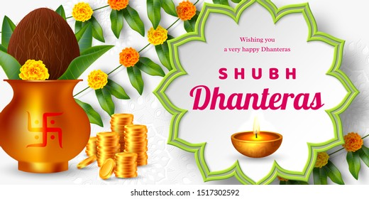 Shubh Dhanteras sale promotional banner for Diwali festival celebration. Indian pots for pooja with coins and diya, floral garland. Vector illustration.