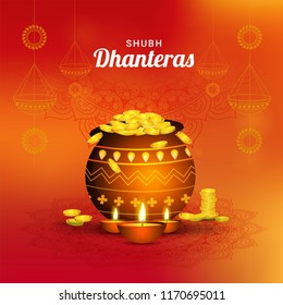 Shubh (Happy) Dhanteras flyer design with illustration of coinpot and illuminated oil lamps on shiny, orange ornamental background.