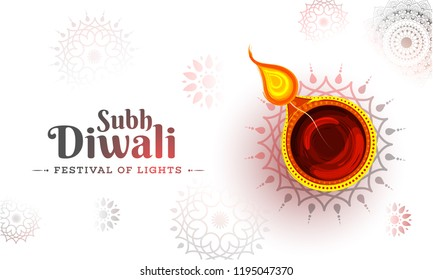 Shubh (Happy) Diwali Celebration Greeting Card Design, Illuminated Oil Lamp on Glossy Floral Background.