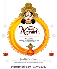 shubh navratri artistic text background with goddess durga, poster or banner of indian festival navratri celebration.