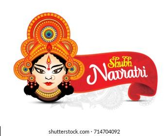 shubh navratri artistic text background with goddess durga, poster or banner of indian festival navratri celebration.