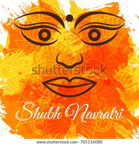 Shubh navratri durga puja greeting poster stock vector royalty free shubh navratri durga puja greeting poster for indian festival desshra vector illustration with m4hsunfo