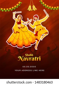 Shubh Navratri festival celebration poster or card design with sticker style character of couple dancing with dandiya stick on brown brush stroke background.