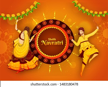 Shubh Navratri festival celebration poster or banner design with illustration of man and woman dancing with dandiya stick on orange floral background.