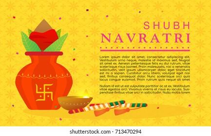 Shubh Navratri(Happy Navratri) vector illustration. Dandiya sticks, indian oil lamp and kalash(pitcher pot) with copy space on yellow pattern background.