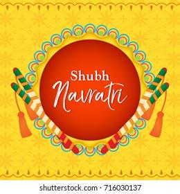 Shubh Navratri(Happy Navratri) vector illustration, Dandiya sticks on yellow Indian pattern background