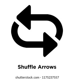 Shuffle Arrows icon vector isolated on white background, logo concept of Shuffle Arrows sign on transparent background, filled black symbol