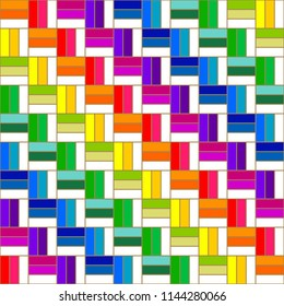 shuffle of colorful rectangles. rainbow color concept. seamless pattern. vector illustration.