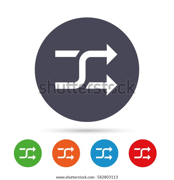 Shuffle sign icon. Random symbol. Round colourful buttons with flat icons. Vector