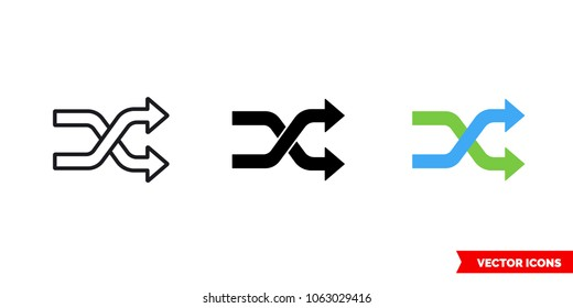 Shuffling change random icon of 3 types: color, black and white, outline. Isolated vector sign symbol.