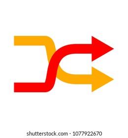shuffling icon, change order, random sign - vector music symbol