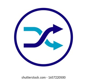 shuffling icon, change order, random sign - vector music symbol.Modern and flat icon of shuffle on white background.