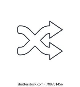 shufle, mix, random, intersecting arrow thin line icon. Linear vector illustration. Pictogram isolated on white background
