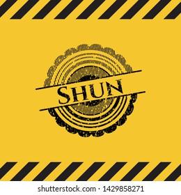 Shun black grunge emblem, yellow warning sign. Vector Illustration. Detailed.