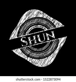 Shun with chalkboard texture. Vector Illustration. Detailed.