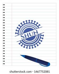 Shun emblem draw with pen effect. Blue ink. Vector Illustration. Detailed.