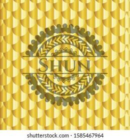 Shun gold emblem. Scales pattern. Vector Illustration. Detailed.