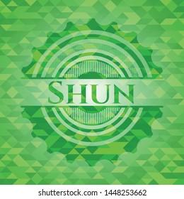 Shun green mosaic emblem. Vector Illustration. Detailed.