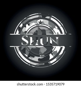 Shun grey camouflage emblem. Vector Illustration.