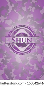 Shun pink and purple on camo pattern. Vector Illustration. Detailed.