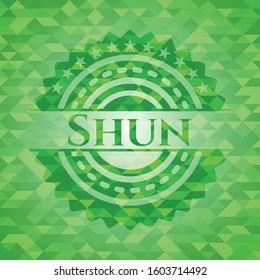 Shun realistic green emblem. Mosaic background. Vector Illustration. Detailed.